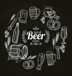 round frame with beer icons on black background vector image vector image