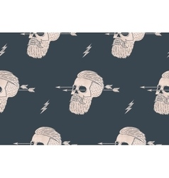 Seamless pattern background of vintage skull vector image vector image