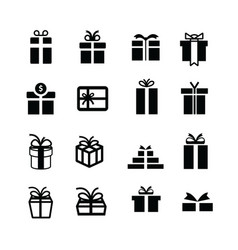Set black gift box icons vector