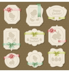 Set of Easter labels tags with bows and ribbons vector image