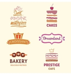 Set of patterns logos cakes Logo vector image vector image