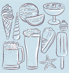 Set of summer symbols shells beer ice cream vector