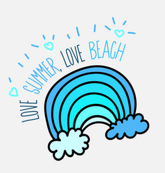 Summer beach poster with blue wave vector