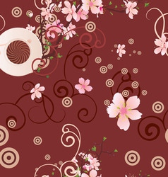 vector coffee cup and pink flowers seamless backgr vector image vector image