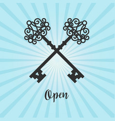 vintage crossed keys on blue background vector image