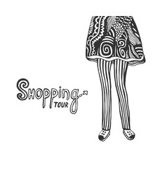 With cute legs of woman in doodle fashion vector
