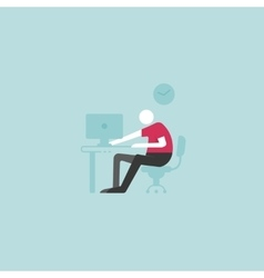 Workplace concept man sitting at the desktop and vector