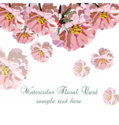 Greeting card with pink watercolor flowers vector