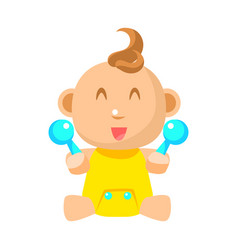 Small happy baby in yellow onesie with two toy vector