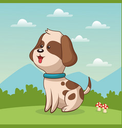 Cute doggy sitting grass landscape vector
