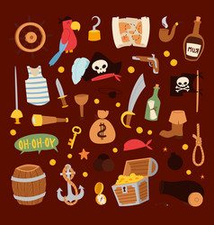 Pirate stickers icons collection adventure vector