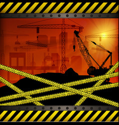 Construction crane at sunset background vector