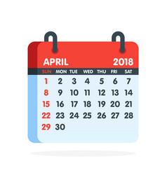 Calendar for 2018 year full month of april icon vector