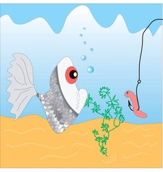 Fish and a worm vector