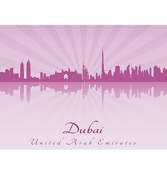 Dubai skyline in purple radiant orchid vector image