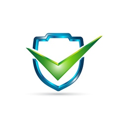 3D shield with check mark vector image