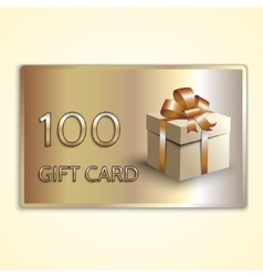 Abstract golden gift card with box vector
