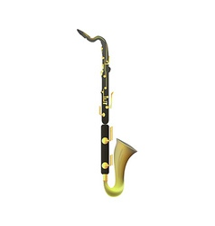 Bass clarinet on white background vector