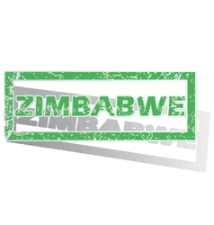 Green outlined zimbabwe stamp vector