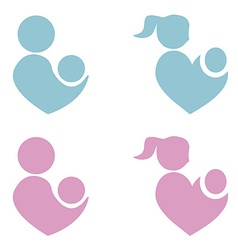 Mom and baby icon parents heart shape vector