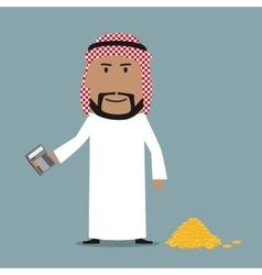 Happy arab businessman counting money vector image