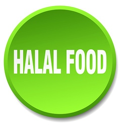 Halal food green round flat isolated push button vector