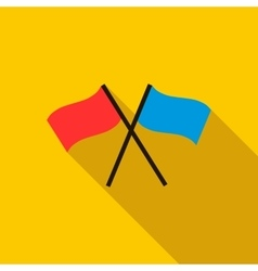 Two crossed flags icon flat style vector