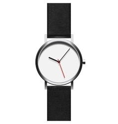 Black analog wristwatch in a steel frame with vector