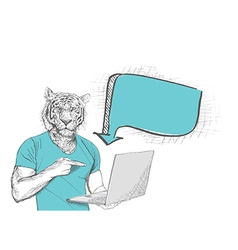 Anthropomorphic lion man pointing at laptop screen vector