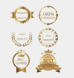 badge golden gold medal seal quality label vector image vector image