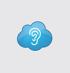 Blue cloud ear icon vector