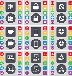 Building lock stop chat cloud smartphone dropbox vector