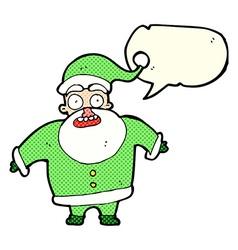 Cartoon shocked santa claus with speech bubble vector