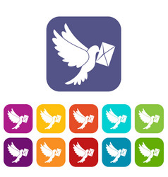 Dove carrying envelope icons set vector