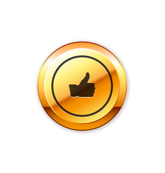 gold badge with thumb up sign vector image vector image