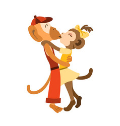 lovely monkey kids stand hugging and kissing vector image vector image