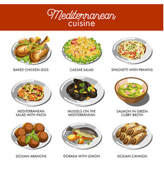 Mediterranean cuisine food traditional dishes vector