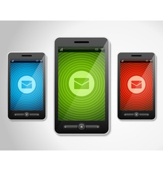 Mobile phone and incoming message icons vector image
