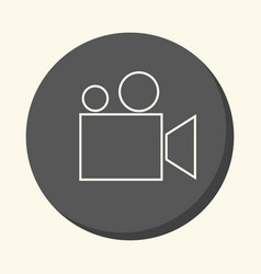 Movie camera or film projector round icon vector