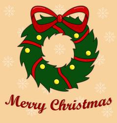 New years card with a christmas wreath peach vector