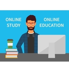 Online education training and e-learning study vector