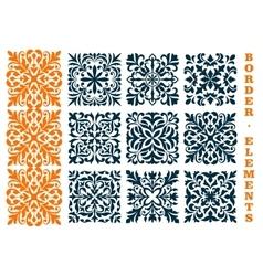 Ornamental openwork floral border patterns vector image