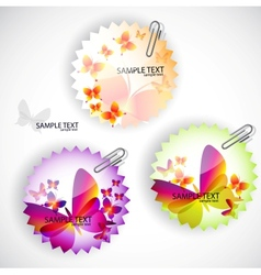 Round sticker with butterflies set vector image vector image