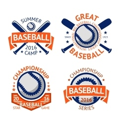 Set of old style Baseball Labels with ball and vector image
