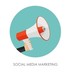 Social media marketing icon hand with megaphone vector