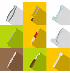 surgeon equipment icons set flat style vector image vector image