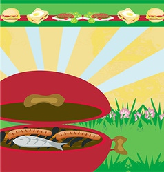 Tasty meat on the grill - barbecue party vector