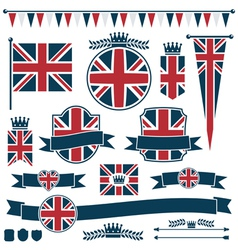 uk flags and ribbons vector image vector image