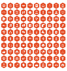 100 team icons hexagon orange vector