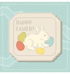 Happy easter retro greeting card vector